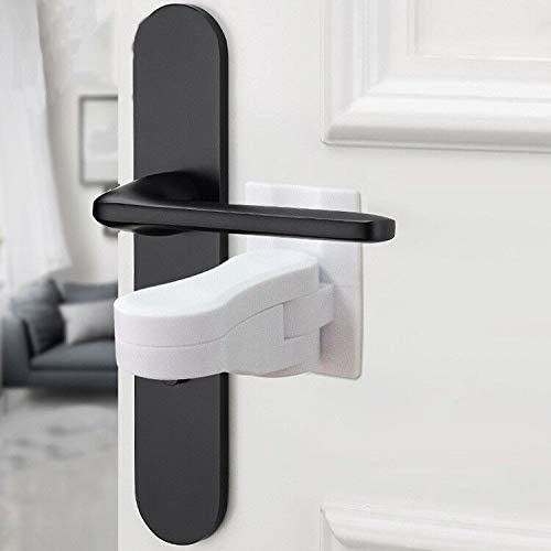 4 Pcs Child Proof Door Lever Lock Prevents Toddlers from Opening Doors , Baby Safety Door Handle Lock,Durable ABS with 3M Adhesive Backing. Simple Install (White)