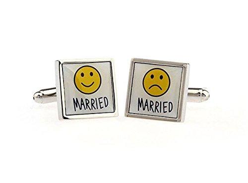 Bouton de manchette special marié content et pas content