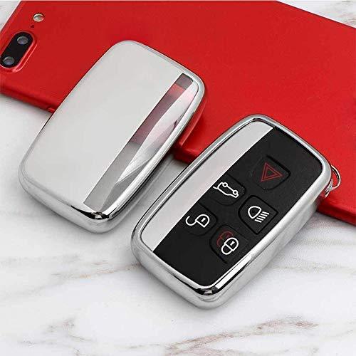 Kelay Soft TPU Cover portachiavi Telecomando Custodia protettiva per tasti Premium Compatibile con Land Rover Discovery Sport Evoque Aurora Jaguar XF XJ XJL XEL XFL F-pace 5 pulsanti silver )