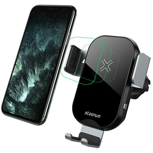 steanum Wireless Charger Auto, Qi Ladestation Auto 15W/10W/7.5W Handyhalterung Auto mit ladefunktion für iPhone 11 Pro Max/Xs Max/SE/XR/X/8 8+, Galaxy S20 S10 S9 S8 S7 S6, Note 10/9/8, Schwarz