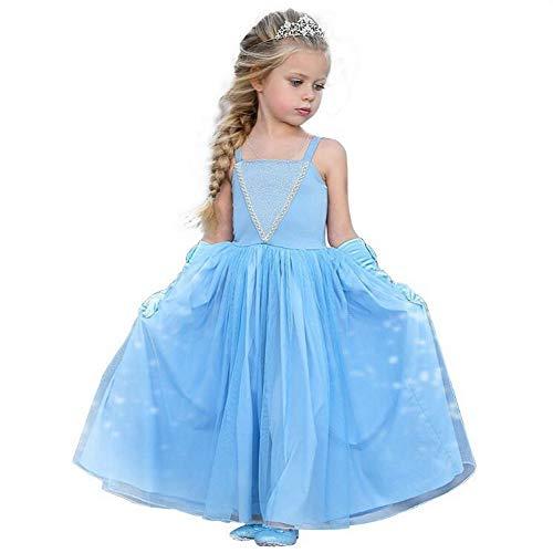 Meisjes Prinses Elsa Assepoester Jurk Party Deluxe Kostuum Maxi Jurken Sling Schouder Fancy Up Voor Kleine Meisjes Kid Peuter 4-5 years