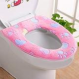 DFVVR Home & Garden, calentador de baño de tela para asiento de inodoro, herramienta de cierre suave, lavable, tapa superior, almohadilla para productos de baño, Rosa, Large