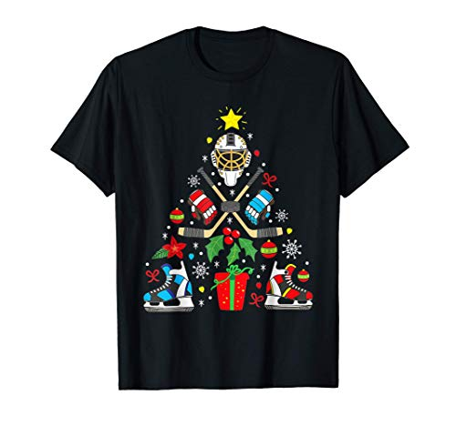 Árbol de adorno navideño de hockey sobre hielo Camiseta