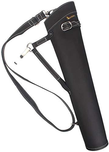TentHome Carquois de Flèche en Cuir Carquois Tir à l'arc à Dos Latéral Traditionnel pour Arc Long Classique (Noir)