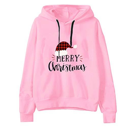 Auifor Frauen Lange Ärmel Weihnachten Brief Drucken Hoodie Sweatershirt Tops Bluse