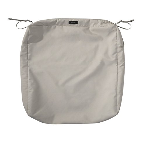 Classic Accessories Ravenna Water-Resistant 25 x 25 x 5 Inch Patio Seat Cushion Slip Cover, Mushroom