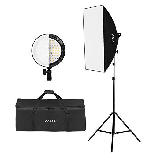 Andoer Photography Studio Portrait Light Product Light Tent Kit Attrezzatura Fotografica (Lampada a Incandescenza 12 * 45W + Portalampada 3 * 4 in 1 + 3 * Softbox + 3 * Supporto Luce + 1 * Custodia)
