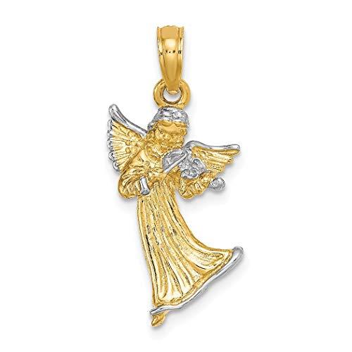 12mm 14ct tweekleurig goud 3-d engel spelen viool {kerst} charme