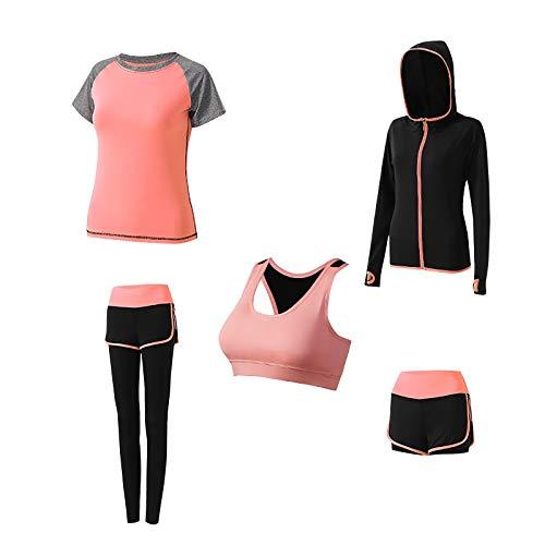 Damen Yoga Kleidung Anzug 5er-Set Sportanzüge Jogginganzug Gym Fitness Kleidung Laufbekleidung Sportswear Sport Yoga Outfit Damen BH Leggings Set, Trainingsanzug Laufbekleidung Gym Fitness Kleidung