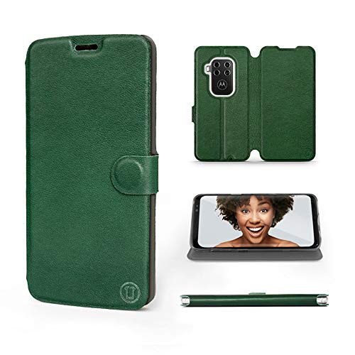 Mobiwear   Echt Lederhülle   Kompatibel mit Motorola One Zoom, Made in EU handyhülle, Slim Leather Hülle, Premium Flip Schutzhülle, Transparent TPU Silicon, Book Style, Tasche - Grünes Leder