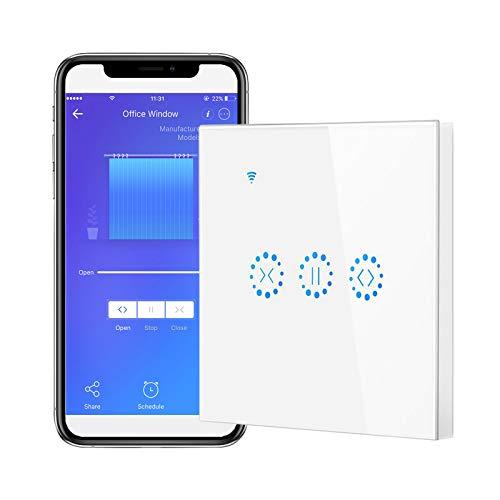 Gobesty Rolladen Zeitschaltuhr Alexa, Rolladenschalter WLAN Prozentkontrolle, Schaltbar LED Jalousien Schalter Smart mit Touch Panel, Timer, Voice Kontrolle Kompatibel mit Google Assistant