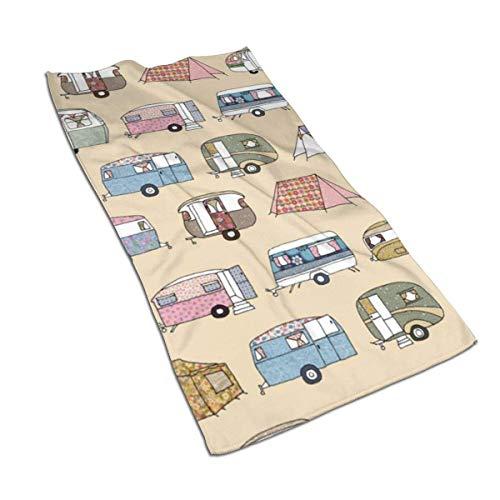 U/K Toalla de mano Happy Camper, toalla de baño, ultra suave, altamente absorbente, pequeña toalla de baño decoración de baño