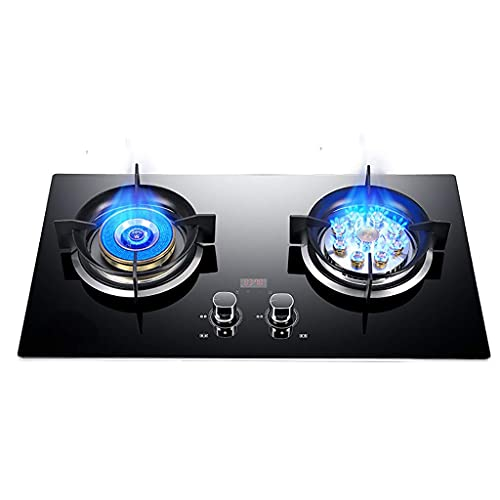 Vidrio templado negro de 73 cm de ancho, placa de gas de 2 quemadores - 4.2KW Fuego directo + 4.2KW Fuego feroz de nueve cavidades - Estufa compacta de gas butano / propano [Clase energética A] (Color