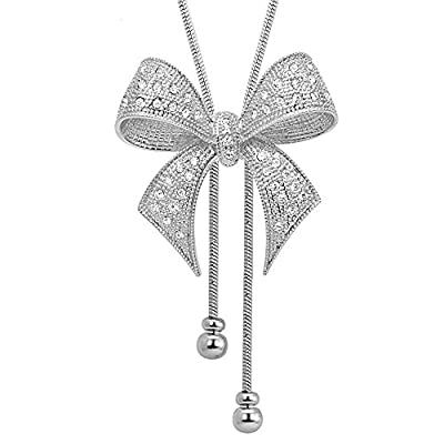 MIXIA Exquisite Women Bowknot Pendant Necklace Bule Crystal Rhinestone Butterfly Long Sweater Chain Tassel Necklace (Bowknot)