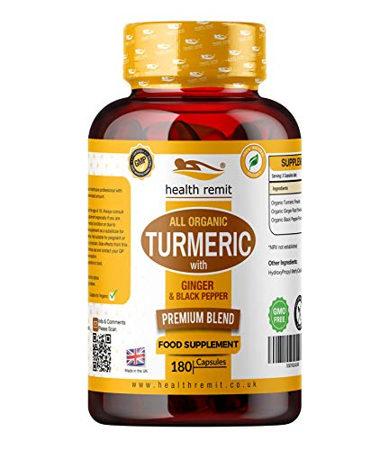 Health Remit's Organic Turmeric Ginger and Black Pepper - 180 High Strength Capsules - 1440 mg Per Serving - for Men and Women - Made in UK