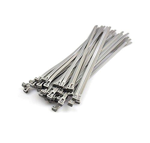 Kabelbinder Wiederlösbar, Canwn Nylon Praktische Kabelbinder Flexibel Kabel-Verbinder Slipknot-Bänder für Kabelmanagement 20 Stück ( Silber ) 7,2mmx300mm