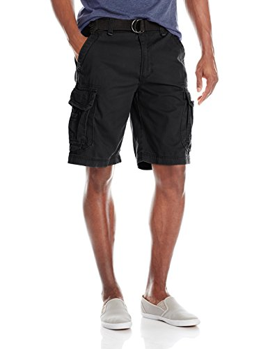 Unionbay Men's Survivor Belted Cargo Short, Black, 32