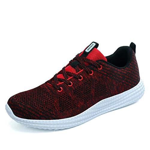 Homme Femme Chaussures de Running pour Course Sports Fitness Gym athlétique Sneakers,Rose Rouge,40 EU