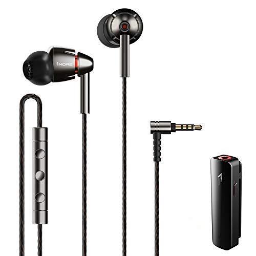 1MORE Quad Driver Auriculares in Ear,Hi-Res Auriculares con Alta Resolución, Bajos Profundos, Sonido Espacioso, Micrófono y Control Remoto,R ecibidor de Bluetooth Incluido, Gris Espacial