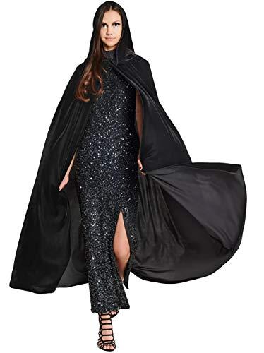 Shmily Girl Mantello con Cappuccio Lungo in Velluto Costume di Halloween Capo Masquerade (Adulto, Nero 185 CM)