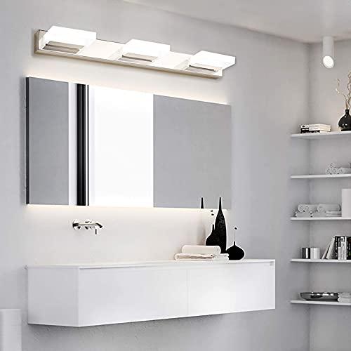 "Wowatt Bathroom Vanity Light Fixture 3 Lights LED Bar Lighting Over Mirror Modern Bath Wall Lamp Wall Sconce Cool White 4000K Wall Mount Chrome Finish Acrylic Stainless Steel Makeup 22"" 12 Watt"