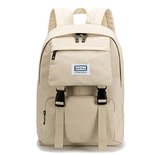 Schoolbag Female Large Capacity Girl College Student Campus Travel Backpack Simple Backpack Beige