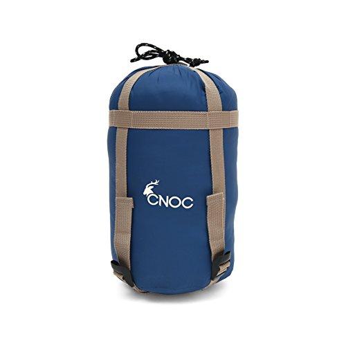 CNOC Sacco a Pelo Leggero I Sacco a Pelo Estivo a 9-20 Gradi - con Borsa a Compressione - Leggero Facile & comprimibile per Campeggio, Backpacking, Trekking - Blu - 699 gr - 185x72cm