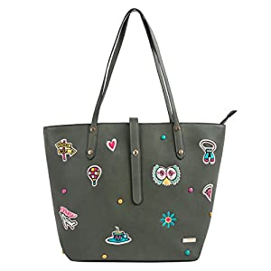 Embroidered Travel Patches Tote Bag - Olive
