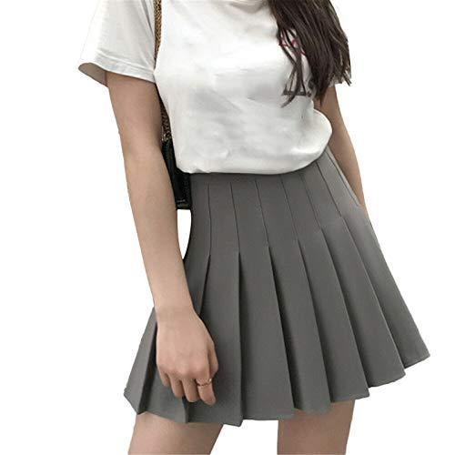 GHJYUK Basic Solid Stretchy Cotton High Waist A-Linie Ausgestellter Skater Minirock für Teen Girls Tennis Scooter Röcke D XS
