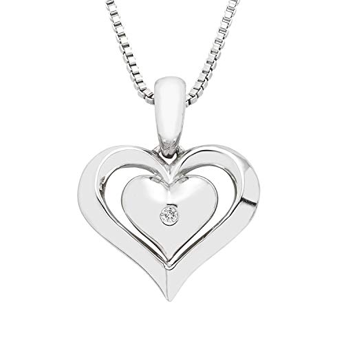 925 Sterling Silver Diamond Accent Dainty Double Heart Love Pendant Necklace, 16