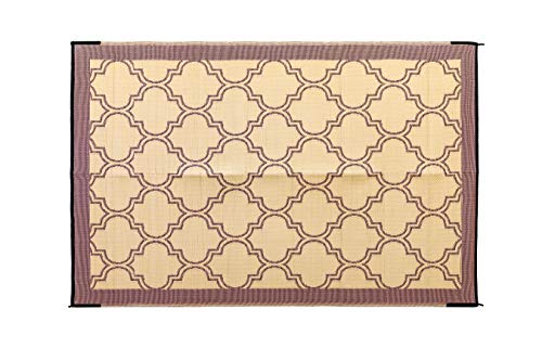 Camco Large Reversible Outdoor Patio Mat - Easy to Clean, Perfect for Picnics, Cookouts, Camping, and The Beach (6' x 9', Brown Lattice Design) (42877)