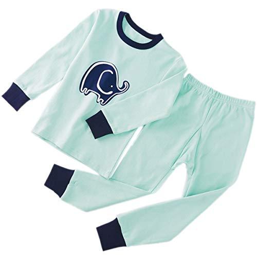 CSLEEPWEAR Pijamas Ronda De Pijamas Sencilla Impreso Niños Cuello Tops Traje Y Pantalones Adecuado para Niños De 2M-16 Años H-140 cm