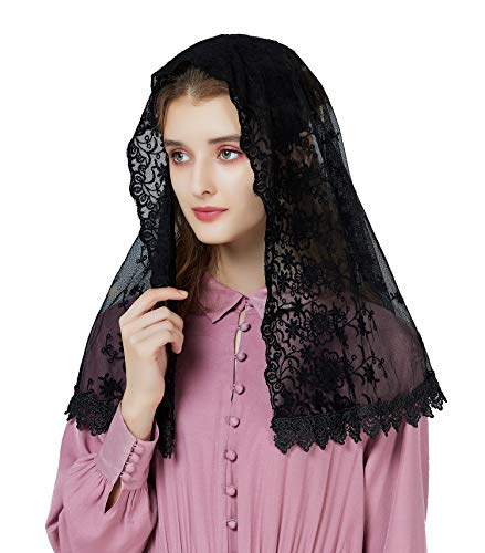 Mantilla De Encaje Española Mujer Capilla Velo Pañuelo de Iglesia Católica Bordado Chal Bufanda Negra Blanca V99