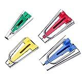 Set de 4 moldes para cinta al bies, para coser cintas al bies, cinta al bies, set de herramientas para coser cintas al bies de 6 mm, 12 mm, 18 mm y 25 mm