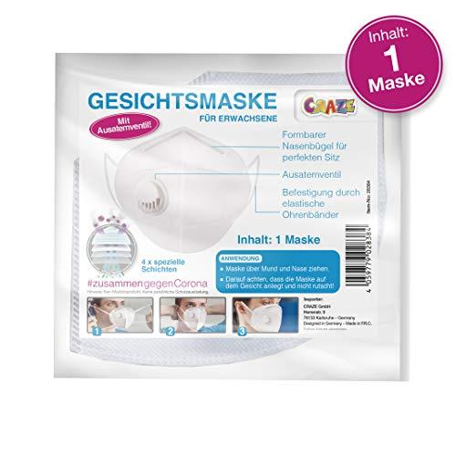 CRAZE High Quality Gesichtsmaske mit Filter Ventil Mundmaske Maske für Gesicht und Nase 4 Schichten 28384, Weiß