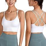 Women's Sport Wear Fitness Bras, Workout Jogging Running Tank Top Underwear Shirt (White, Medium)
