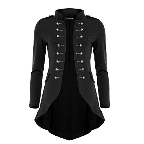 Mayaadi 6066 Damen Jacke Blazer Admiral Uniform Mantel mit Military Knopfleiste Vokuhila Schwarz-XL