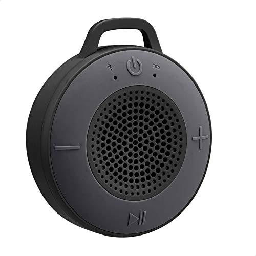 Amazon Basics Kabelloser Dusch-Lautsprecher mit 5-W-Treiber, Saugnapf, eingebautem Mikrofon, Schwarz