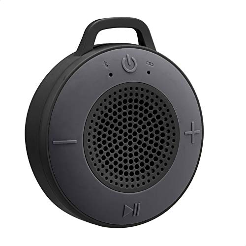 AmazonBasics Kabelloser Dusch-Lautsprecher mit 5-W-Treiber, Saugnapf, eingebautem Mikrofon, Schwarz