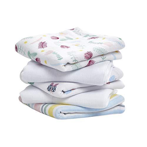 pack de 5 musy-langes en mousseline de 100% coton aden + anais™ essentials floral fauna (60x60cm)