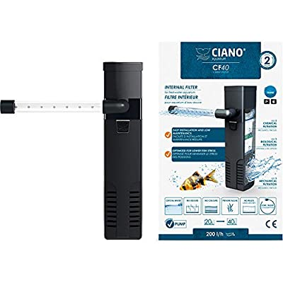 Ciano CF40 Aquarium Internal Filter - Flow of 200L/h. Suitable for aquariums between 10-40L. by Ciano