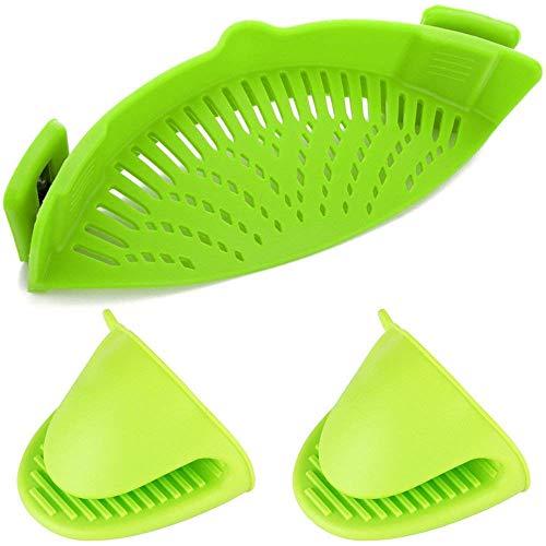 BB&ONE Silicone Filter, Clip Silicone Colander, Geschikt voor alle potten en kommen - 2 Silicone Handschoenen Lime Green