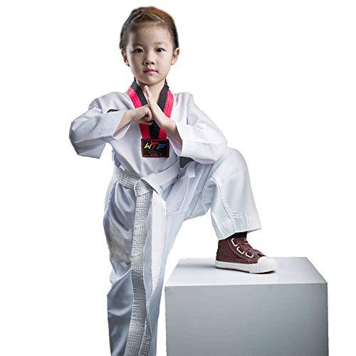 Traje de Taekwondo Traje de Taekwondo Adulto para niños Ropa de Primavera y otoño de Manga Larga, Ropa de Entrenamiento para Principiantes-XS