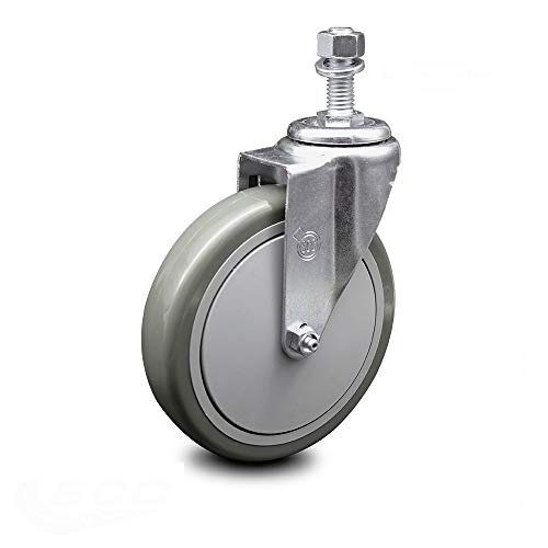 "Polyurethane Swivel Threaded Stem Caster w/6"" x 1.25"" Gray Wheel and 1/2"" Stem - 300 lbs Capacity/Caster - Service Caster Brand"