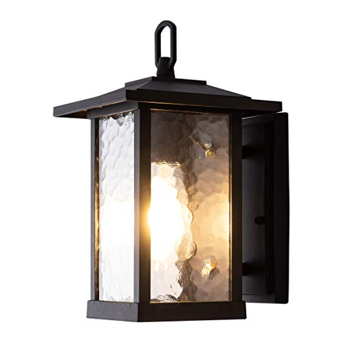 Smeike Outdoor Wall Lanterns/Sconce, 1-Light Exterior Wall Mount Light in Matte Black Finish with Water Glass, Aluminum Alloy Patio/Porch Lighting Fixture, 60W