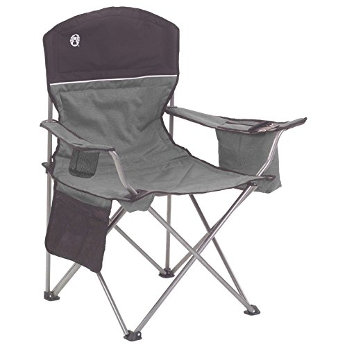 Coleman Camp Chair with 4-Can Cooler | Folding Beach Chair with Built In Drinks Cooler | Portable Quad Chair with Armrest Cooler for Tailgating, Camping, and Outdoors