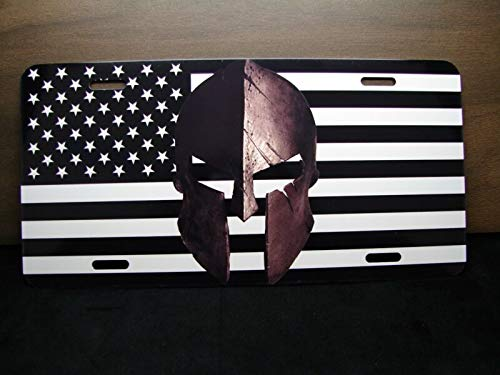 Tamengi American Flag and Spartan Helmet Metal Novelty License Plate for Cars Sparta 6 x 12 Produced in The U.S.