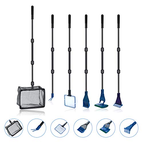 6 en 1 Acuario Fish Clean Set/Fish Net, Spoon Net, Gravel Ra