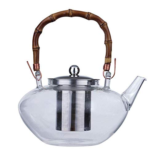 Hitzebeständige Glasteekanne Bambusgriff Strahlentopf Japanisches Kung Fu Teeset Verdickungskessel, Teekanne