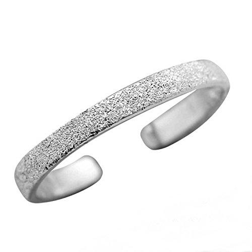 FIVE-D Anello per dita dei piedi, misura regolabile, sabbiato, in argento sterling 925, con custodia e Argento, colore: Silber - 2,5 Mm, cod. SL-toe115-V